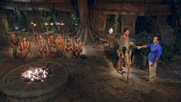 """Kind of Like Cream Cheese"" - Jeff Probst extinguishes Reed Kelly's torch at Tribal Council during the eleventh episode of Survivor 29, on a special two hour back-to-back SURVIVOR, Wednesday, December 3 (8:00-10:00 PM, ET/PT )on the CBS Television Network. Photo: Screen Grab/CBS ©2014 CBS Broadcasting, Inc. All Rights Reserved."